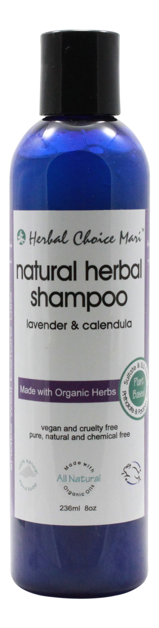 Natural Herbal Shampoo - Lavender & Calendula - 8 oz Bottle - Front