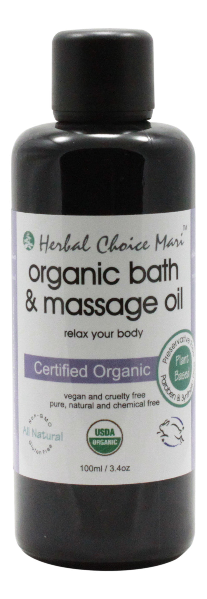 Organic Bath & Massage Oil - Relax Your Body - 3.4 oz Bottle - Front
