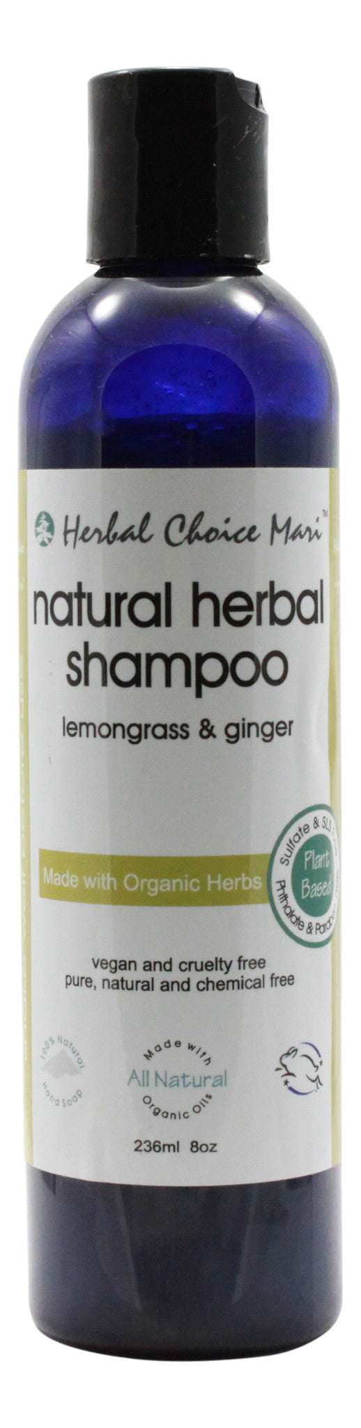 Natural Herbal Shampoo - Lemongrass & Ginger - 8 oz Bottle - Front