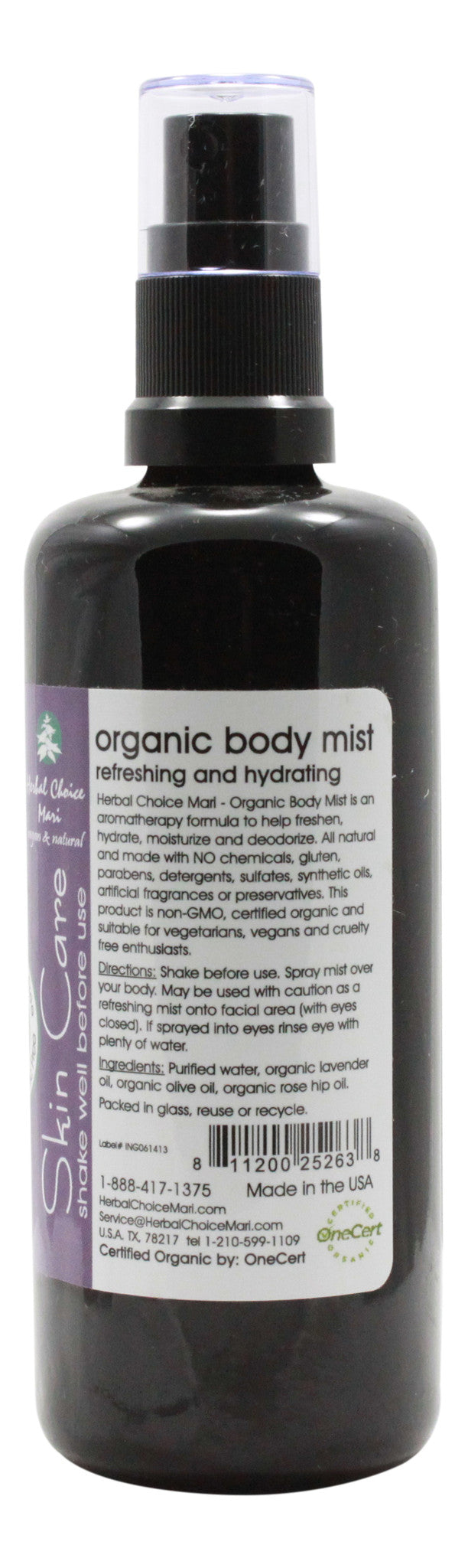 Organic Body Mist - Lavender - 3.4 oz Spray - Info