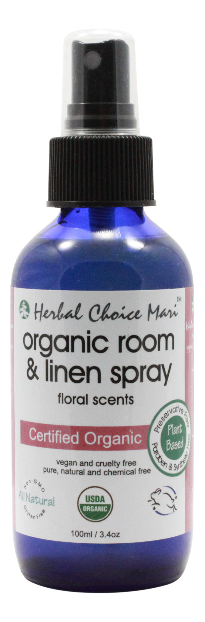 Organic Room & Linen Spray - Floral Scents - 3.4 oz Spray Bottle - Front