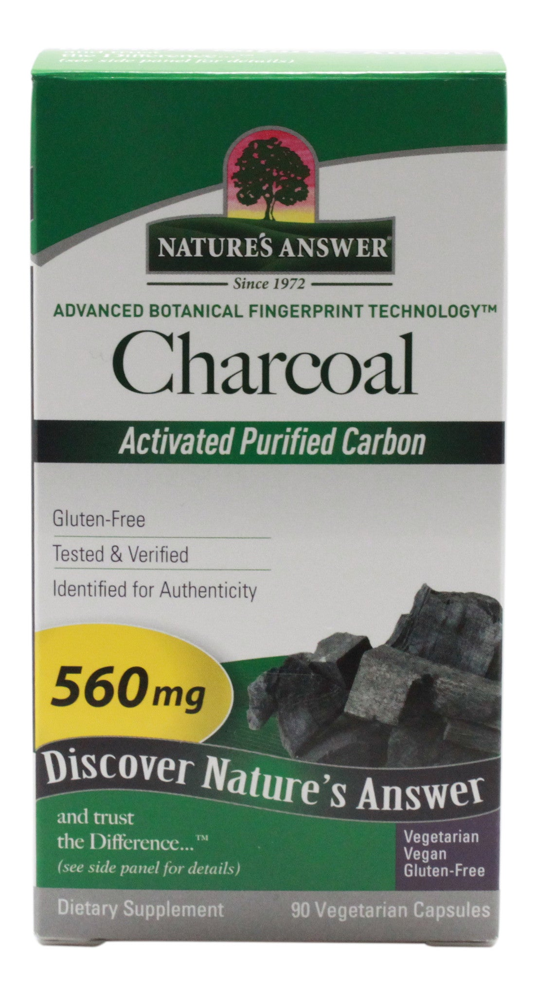 Charcoal Activated Purified Carbon 560mg - 90 Capsules - Front
