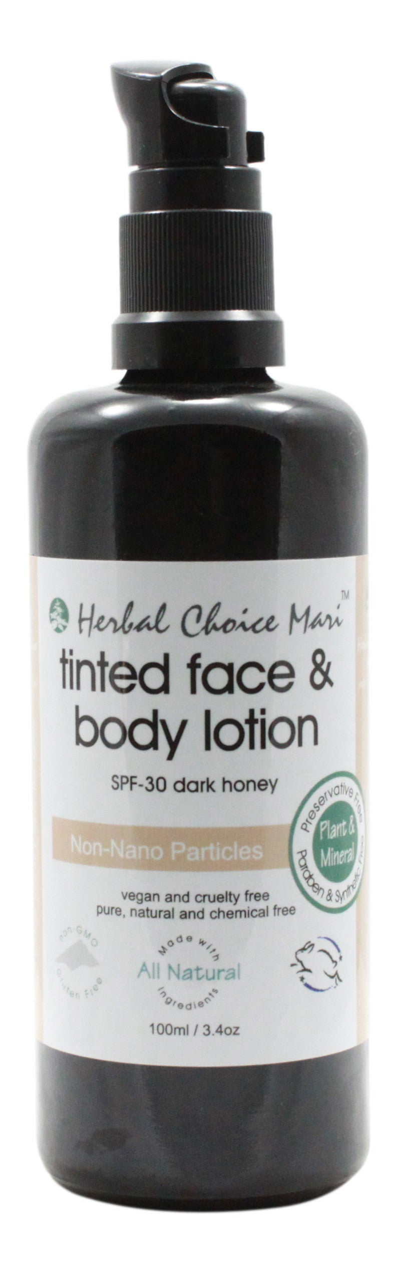 Tinted Face & Body Lotion - SPF 30 - Dark Honey - 3.4 oz- Front