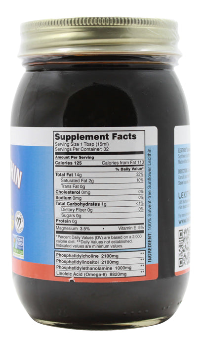 Sunflower Lecithin - 16 oz Liquid Supplement Facts