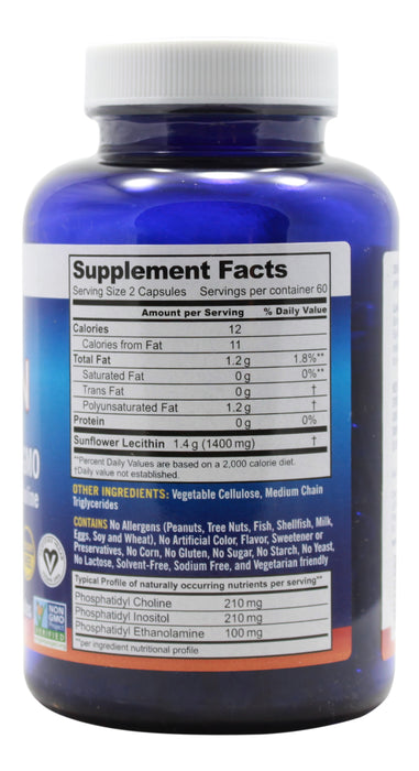 Sunflower Lecithin - 120 Capsules Supplement Facts