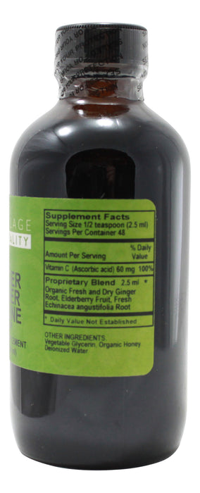 Ginger Zinger Immune Syrup - 4 oz Liquid Supplement Facts