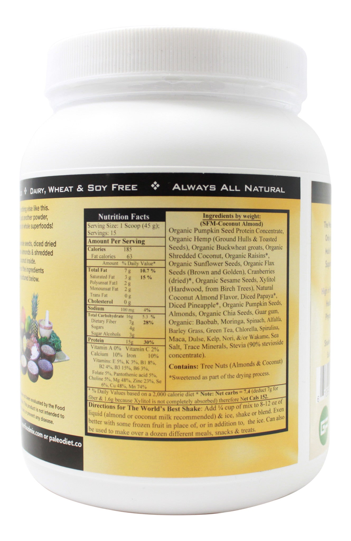 P3 Paleo Plant-Based Protein Coconut Almond Flavor - 500 g Powder Supplement Facts