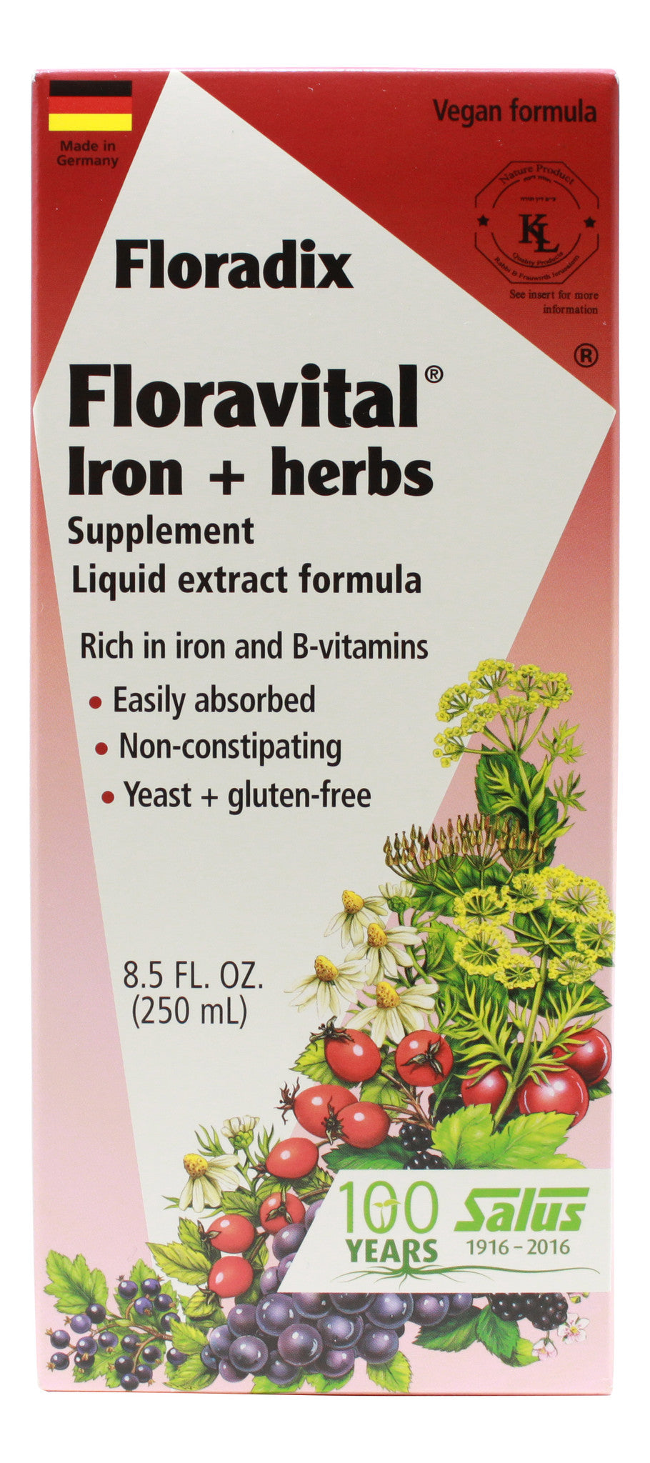 Floravital Iron and Herbs - 8.5 oz Liquid Front