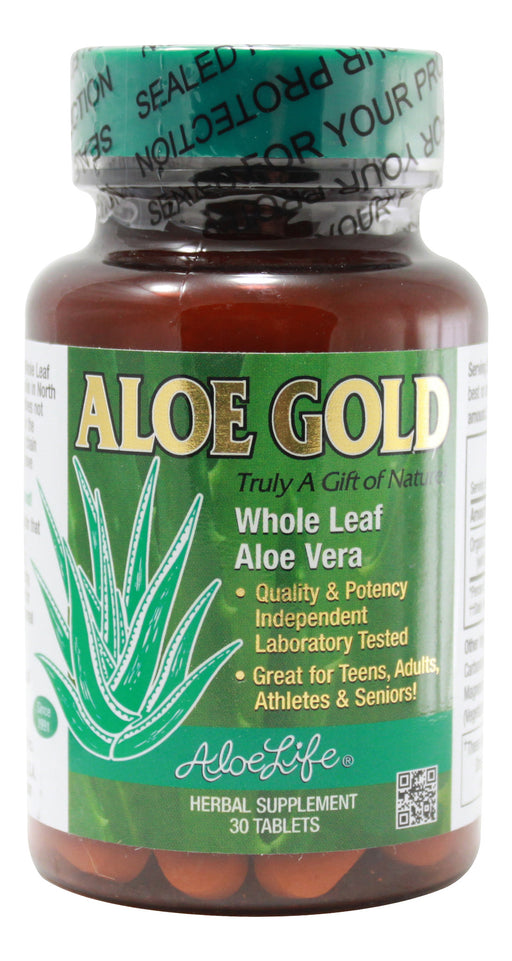 Aloe Gold Whole Leaf Aloe Vera - 30 Tablets Front