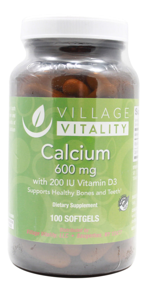 Calcium 600 mg with Vitamin D3 200 I.U. - 100 Softgels Front