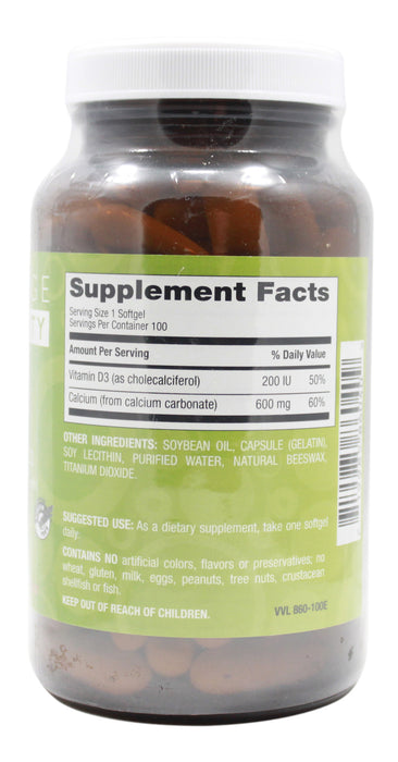 Calcium 600 mg with Vitamin D3 200 I.U. - 100 Softgels Supplement Facts
