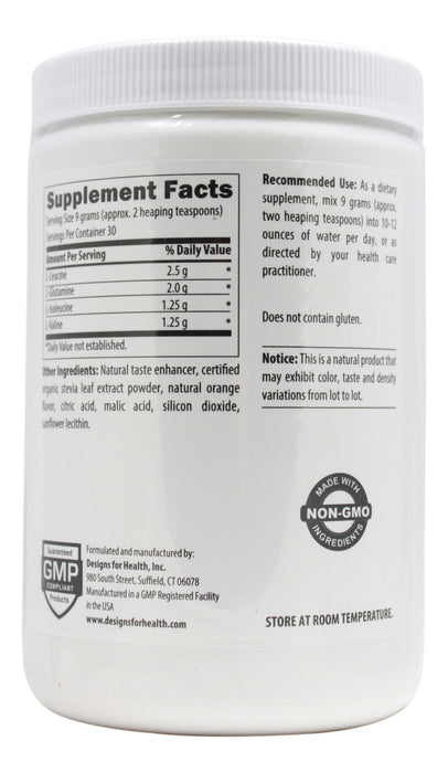 BCAA Powder with L-Glutamine - 9.5 oz Powder Back/ Supplement Facts