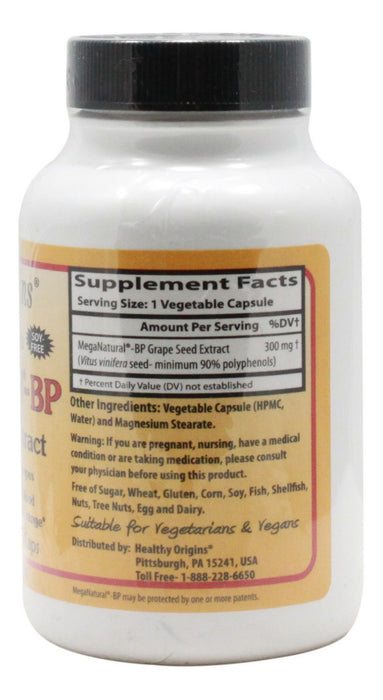 MegaNatural BP 300 mg - 60 Capsules - Supplement Facts