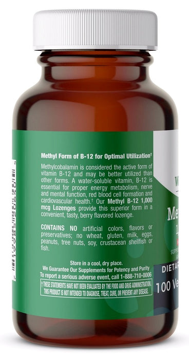 Methyl B12 1,000 mcg Natural Berry Flavor - 100 Lozenges