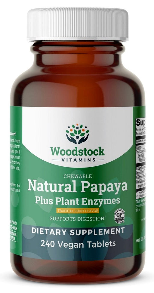 Chewable Natural Papaya - Natural Tropical Fruit Flavor - 240 Tablets