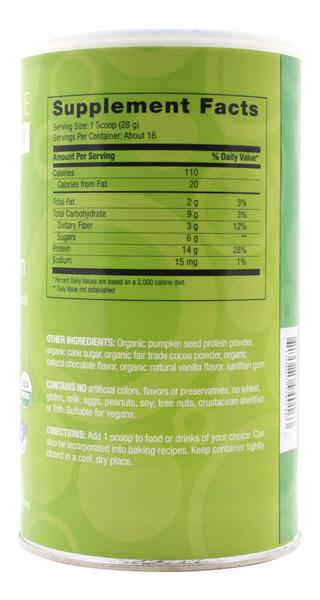 Organic Pumpkin Protein - 16.3 oz Powder - Supplement Facts