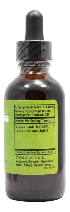 Stevia Vanilla Flavor - 2 oz Liquid - Supplement Facts