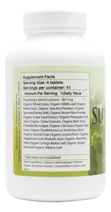 Super Greens - 250 Tablets - Supplement Facts