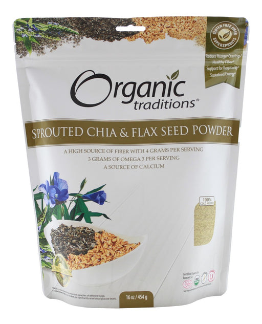Sprouted Chia & Flax Seed Powder - 16 oz - Front