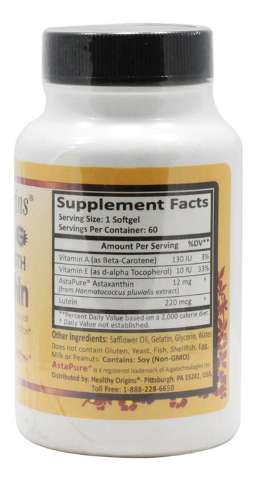 Triple Strength Astaxanthin - 60 Softgels - Supplement Facts