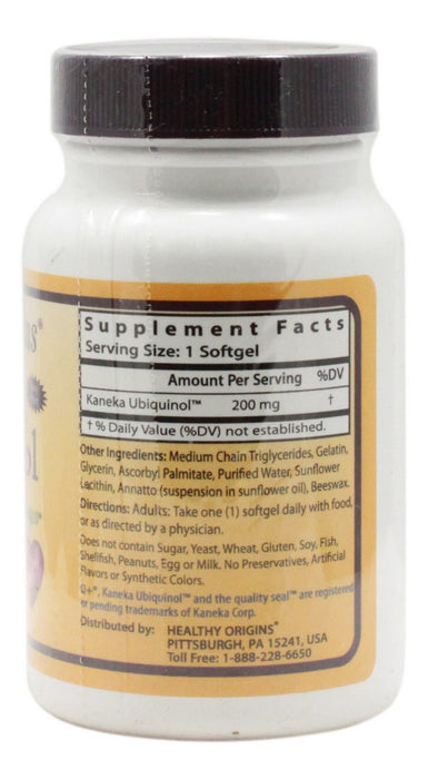 Ubiquinol 200 mg - 30 Softgels - Supplement Facts