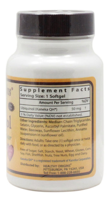 Ubiquinol 50 mg - 30 Softgels - Supplement Facts