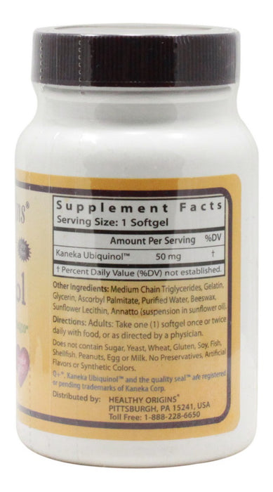 Ubiquinol 50 mg - 60 Softgels - Supplement Facts