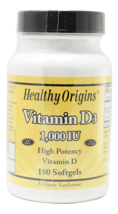 Vitamin D3 Gels 1,000 IU - 180 Softgels - Front
