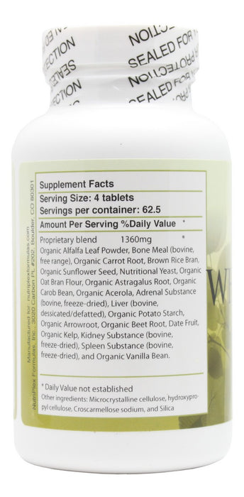 Whole Food Complex - 250 Tablets - Supplement Facts