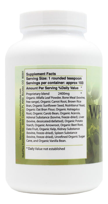 Whole Food Complex - 8 oz Powder - Supplement Facts