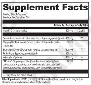 Allergy Support - 60 Capsules - Supplement Facts