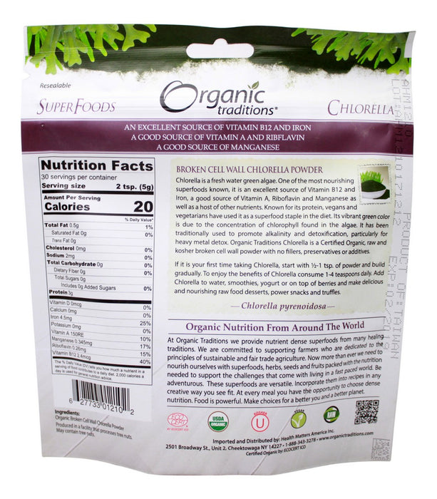 Chlorella Powder - 5.3 oz - Supplement Facts