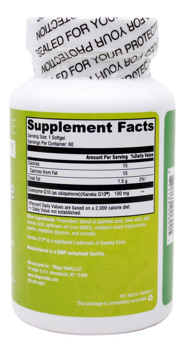 Crystal Free Coq10 - 60 softgels - Supplement Facts