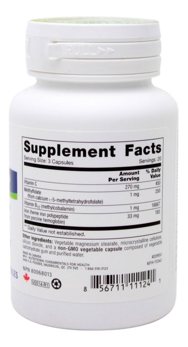 Heme Iron SAP - 60 Capsules - Supplement Facts
