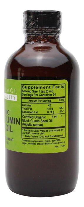 Organic Black Cumin Seed Oil - 4 oz - Supplement Facts