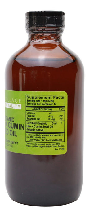 Organic Black Cumin Seed Oil - 8 oz - Supplement Facts