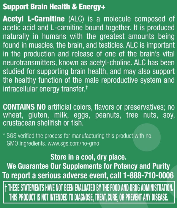 Acetyl L-Carnitine 500 mg - 30 Capsules
