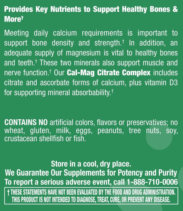 Cal-Mag Citrate Complex with Vitamin D3 - 100 Tablets