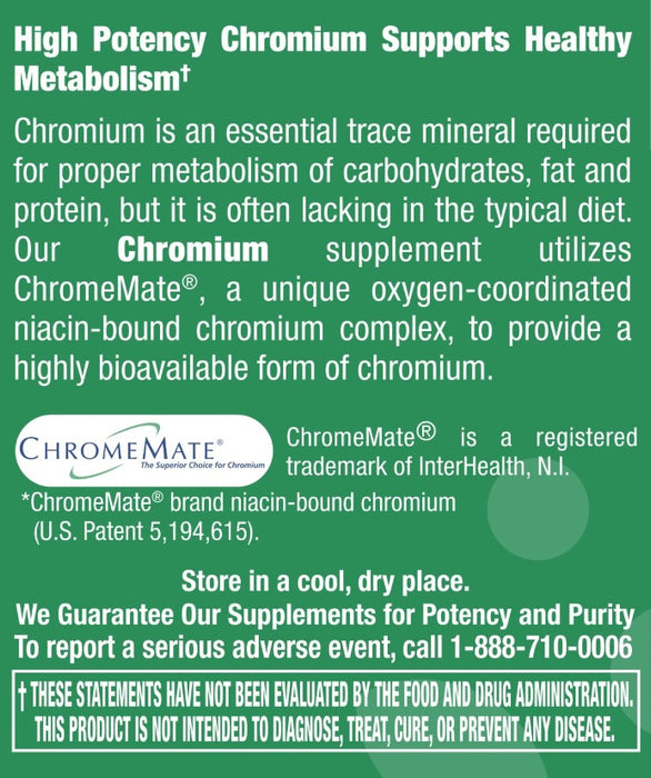 Chromium 200 mcg (Chromemate GTF) - 120 Tablets