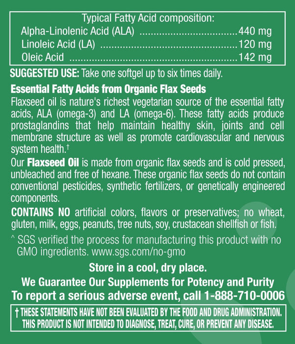 Flaxseed Oil 1,000mg - 90 Softgels