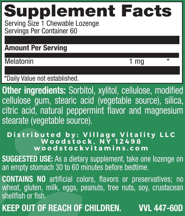 Melatonin 1 mg Natural Peppermint Flavor - 60 Lozenges