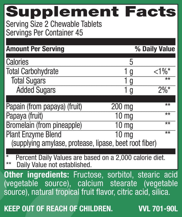 Chewable Natural Papaya - Natural Tropical Fruit Flavor - 90 Tablets