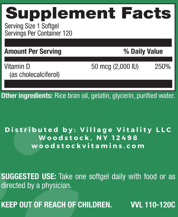 Vitamin D3 2,000 I.U. - 120 Softgels