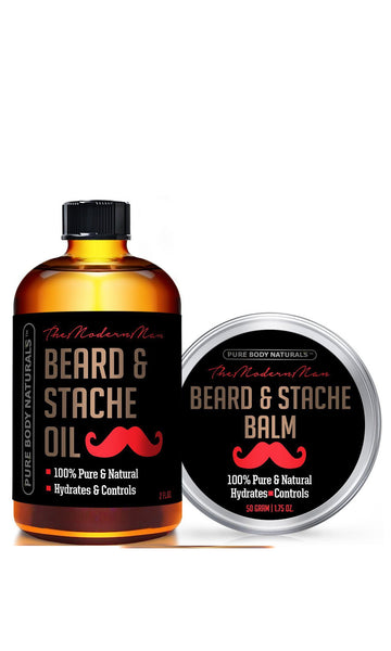 Beard Oil & Beard Balm Gift Set - ( 2 oz + 1.75 oz) - All Natural Beard Conditioner - Style, Shape and Moisturize Beard, Mustache & Skin, Great Gifts For Men