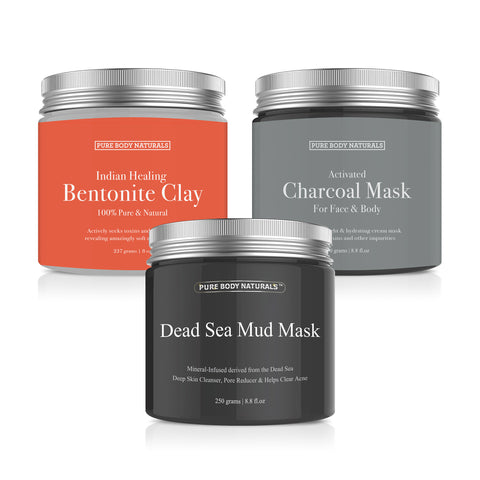 Premium Face Mask Collection, Dead Sea Mud/ Charcoal Creme/ Bentonite Clay, 8.8 Ounce