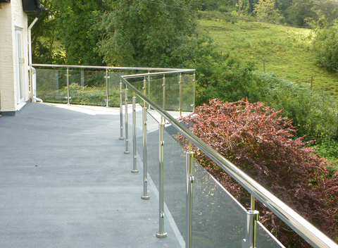 Framed glass balustrade in North Wales