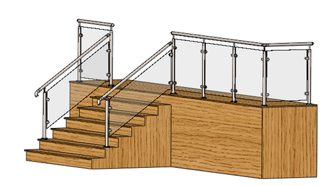 3D model - glass balustrade