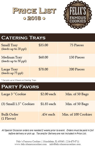 2018 Felix's Famous Cookies Price List for Cookie Trays