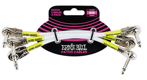 "Ernie Ball 6"" Angled to Angled Pancake Patch Cables, 3-Pack"