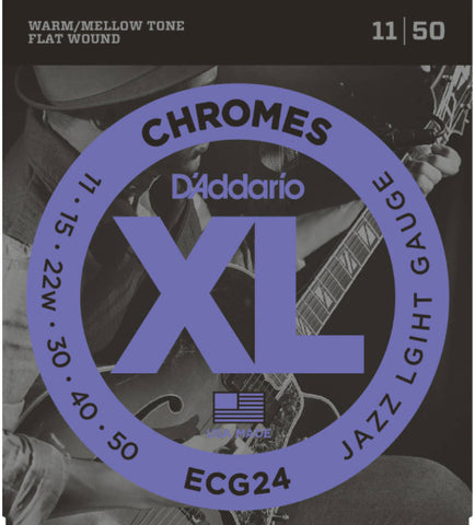 D'Addario ECG24 Chromes Flat Wound Electric Guitar Strings, Jazz Light
